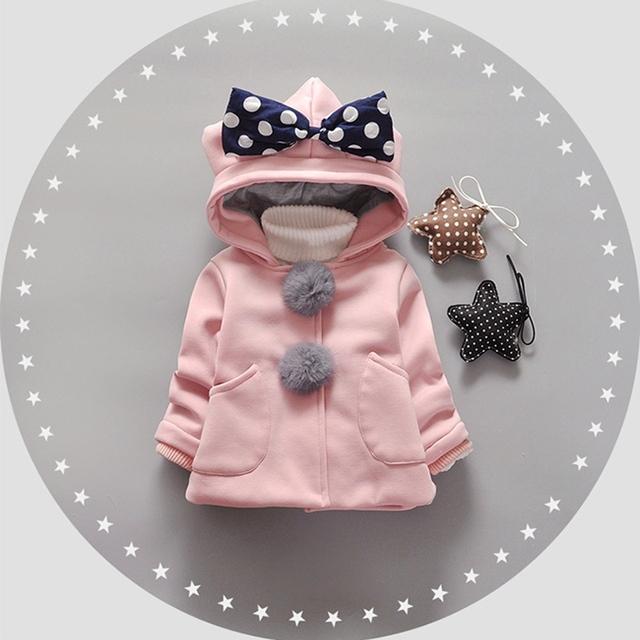 Otoño Invierno de los Bebés Bebés Niños Bola Polka Dot Arco de la Princesa Con Capucha Chaqueta de la Capa Outwear Navidad Regalos Roupas Casaco S4235