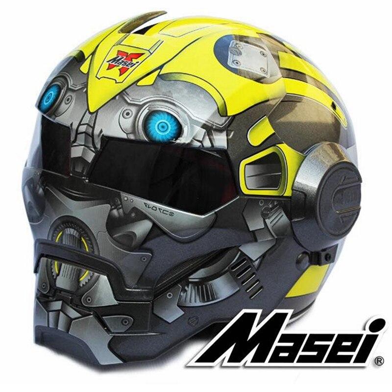 2017 Nuovo Bumblebee MASEI 610 IRONMAN Iron Man casco moto casco metà casco aperto del fronte del casco motocross Sml XL