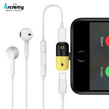 ea86242bafe Ascromy Dual Adaptador de Carregador e Fone De Ouvido Para O iPhone Da Apple  X 7 8 Plus 6 6 S S 10 Aux Áudio cabo de Carregament.