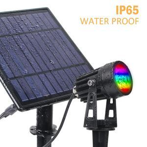 Image 5 - T SUNRISE luz LED Solar para jardín IP65 impermeable, lámpara Solar RGB para exteriores, foco Solar para decoración de jardín, luz de pared