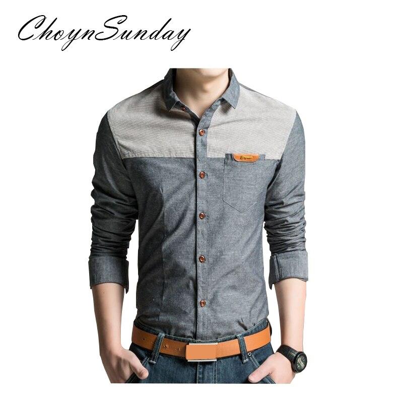 ChoynSunday 2018 new trend Men's Youth Slim Spring and Autumn Casual Shirt Men's Imitation Denim Shirt Men's Long Sleeve shirt 2