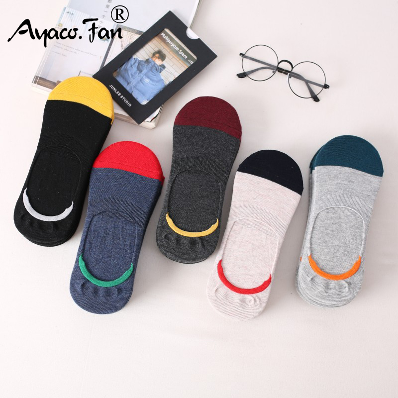 5 Pairs/Lot Men's Socks New Non-slip Silicone Invisible Boat Compression Socks Male Ankle Sock Harajuku Men Meias Cotton Socks
