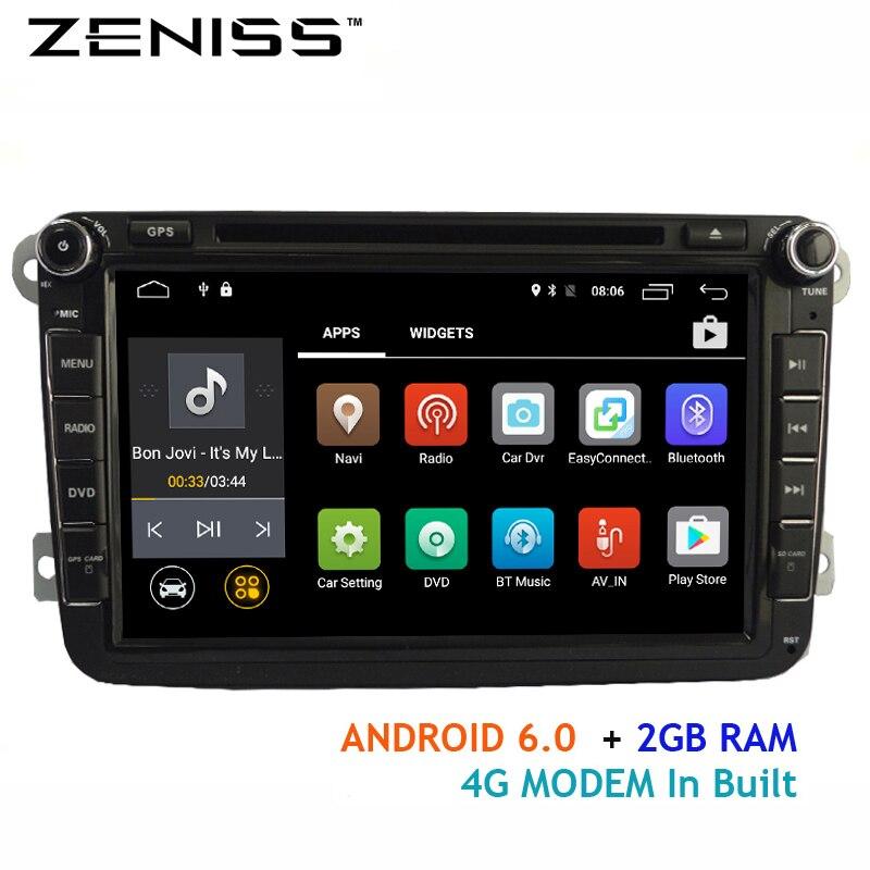 imágenes para Envío libre Android6.0 2 GB dvd del coche para VW Golf Polo Passat Tiguan 4G LTE módem forskoda octavia radio del coche para passat b5 VW66S