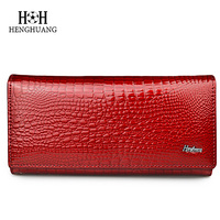 Brand Women Alligator Genuine Leather Wallet Multifunction Blocking Cowhide Card Holder Clutch Ladies Patent Purse Long
