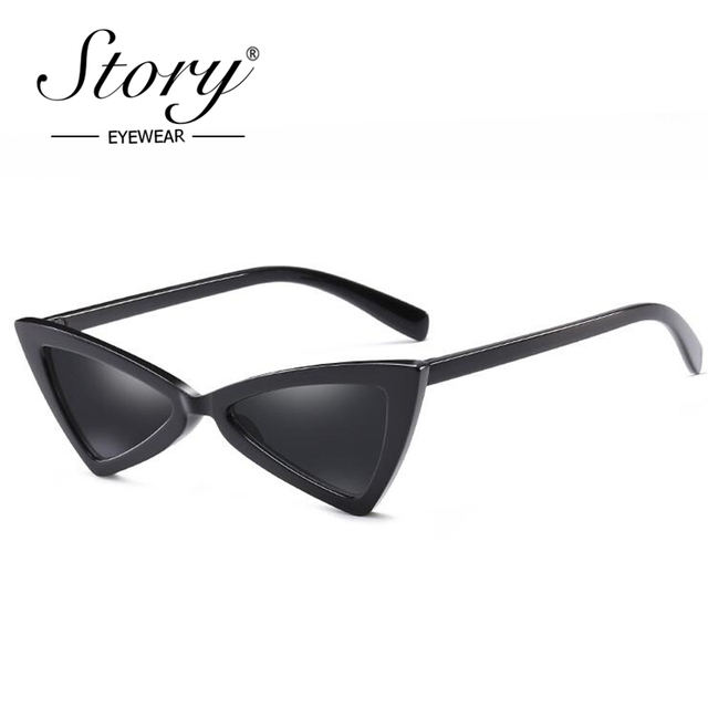 4940c732760b8 STORY Vintage Retro Small Triangle Cat Eye Sunglasses Women Fashion Slim  Frame Cateye Sun Glasses Black