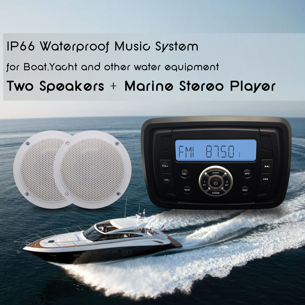 Marine Bluetooth Stereo Boat Audio Waterproof Radio Car Player Sound ...