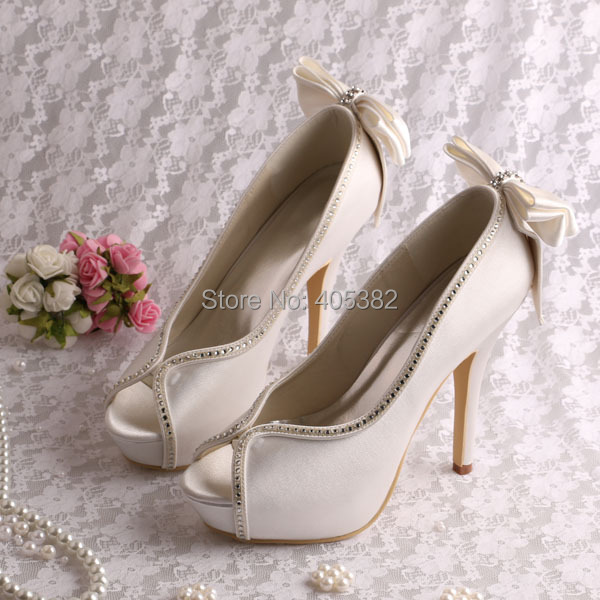 ФОТО (20 Colors)Wholesale Very High Heel Platform Shoes for Wedding Pumps with Bowtie Size 7 Free Shipping