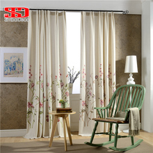 Embroidered Cotton Curtains for Bedroom Fabric Luxury Flowers Curtains For Bedroom Blinds Drapes Pastoral Chinese Floral Window