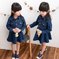 Toddler Girl Clothing Korean Children Clothes Baby Girl Dress Long Sleeve Turen Down Collar Denim Blue Jeans Kids Dresses 2-8Y