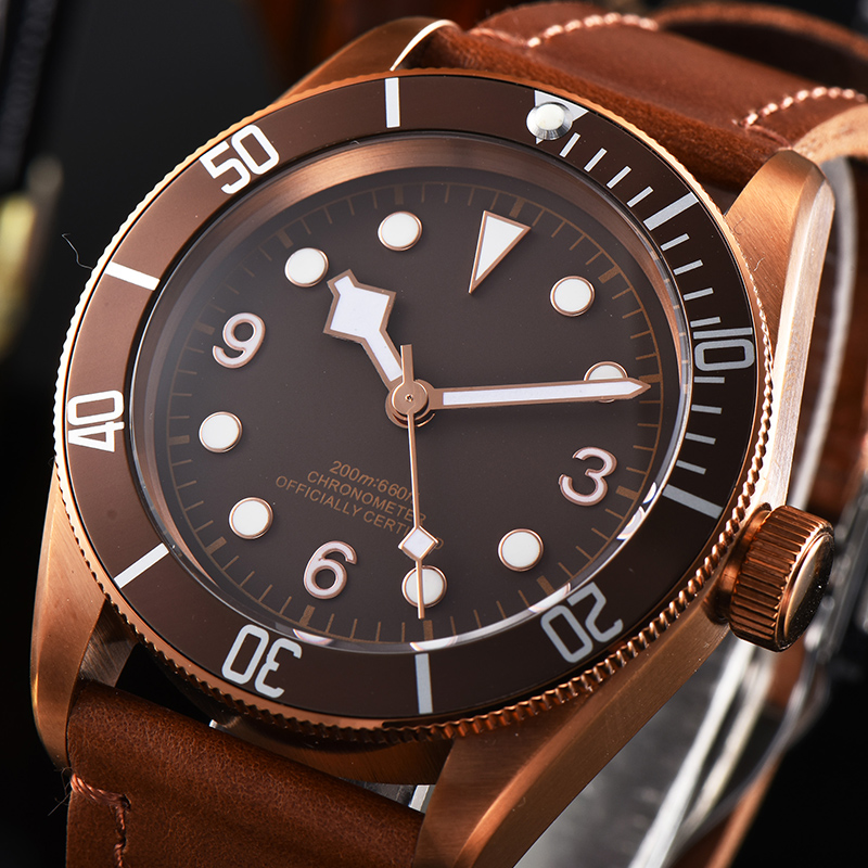 41mm Corgeut Automatic Mechanical Watches Brown Dial Bronze Case Luminous Marks Sapphire Glass Automatic Waterproof Men's Watch