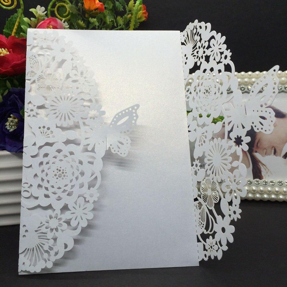 unids delicado tallado butterlies sobres de boda tarjeta de invitacin de boda partidocum