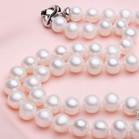 2016 New Fashion 9 10 Mm 100 Natural Freshwater Pearl Necklace White Gold Plated High Quality