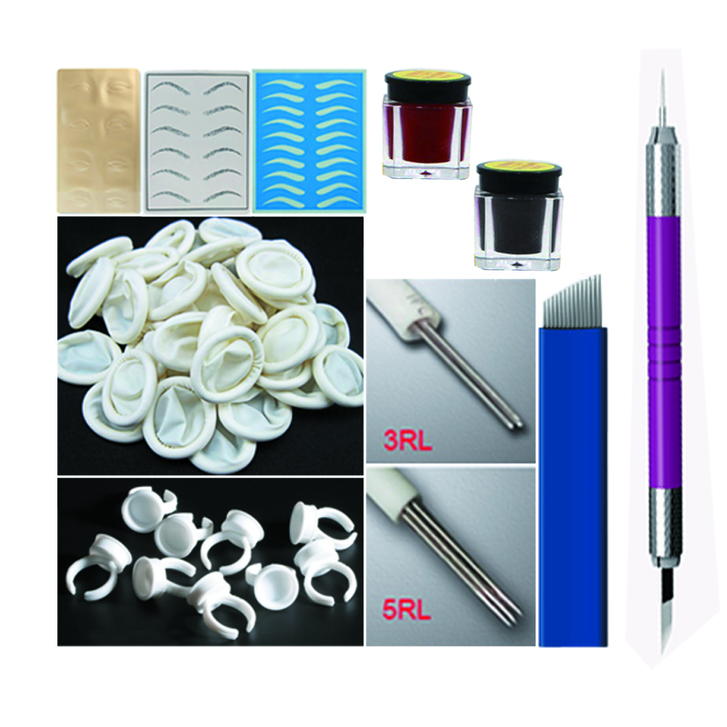 Manual Eyebrow Tattoo Kit with 3d Microblading Tattoo Machine Pen ink needles rings& Practice Skin Permanent Makeup For Learner 35000r import permanent makeup machine best tattoo makeup eyebrow lips machine pen