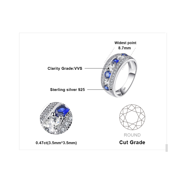 JewelryPalace Luxury 1.54ct Round Created Blue Sapphire Cocktail Band Ring 925 Sterling Silver Fashion Brand Jewelry For Women