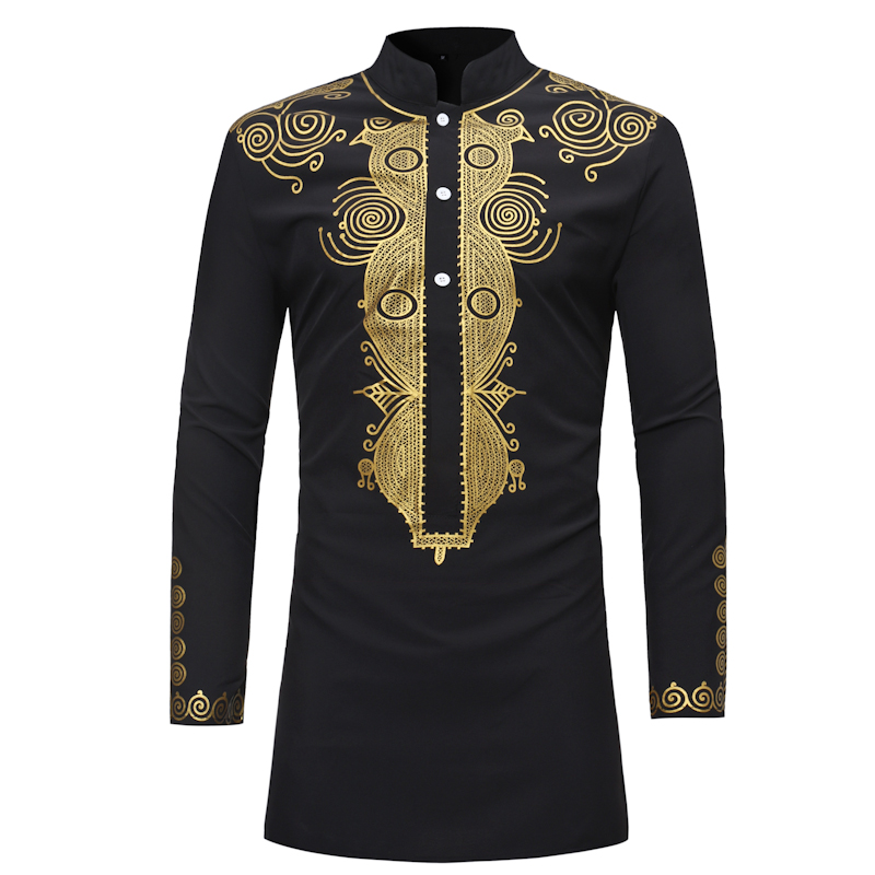 Africa Clothing African Dashiki Traditional Dashiki Maxi Man Shirt Men 2018 Brand New Ethnic Printed Long Line Arican Shirt Men