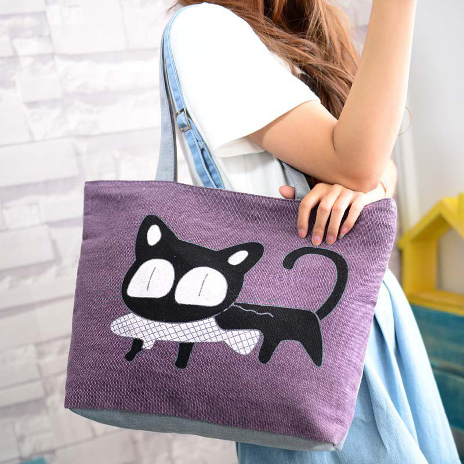 Girl cat eat fish shopping bag Shoulder Women Handbags beach tote bags handbags purple free shipping casual canvas shopping bags black color with fish pattern shoulder bags shopping bag handbags e08
