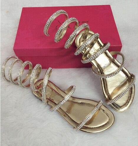 Plus size34-46 été femmes sandales cristal Sexy femmes gladiateur sandale femmes bottes serpent plat femmes chaussures chaussures romaines