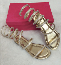 Plus size34-46 Summer women sandals Crystal Sexy Women Gladiator Sandal Boots Snake Flat Shoes Roman shoes