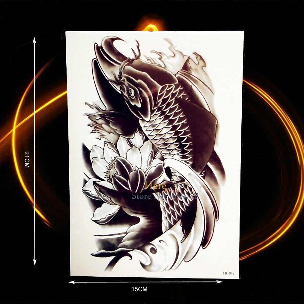 Fashion Black Carp Lotus Waterproof Temporary Tattoo Kids WOmen Body Art Arm Tattoo Sleeves HHB043 Fake Tatoo Onderarm Men Totem