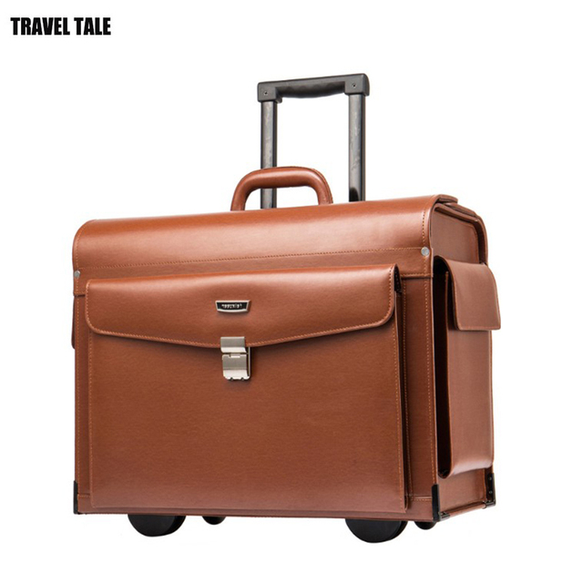 Travel Tale 19 Inch Genuine Cow Leather Retro Carry On Suitcase