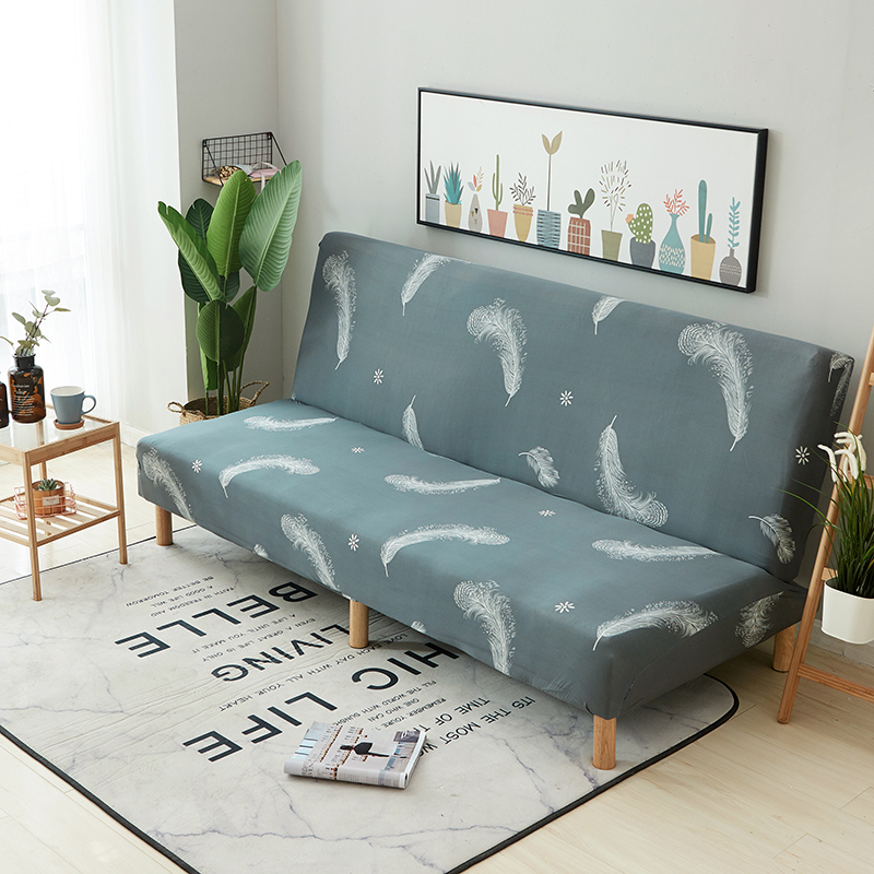 Grey Feather Armless Sofa Bed Cover Anti Slip Couch Sofa