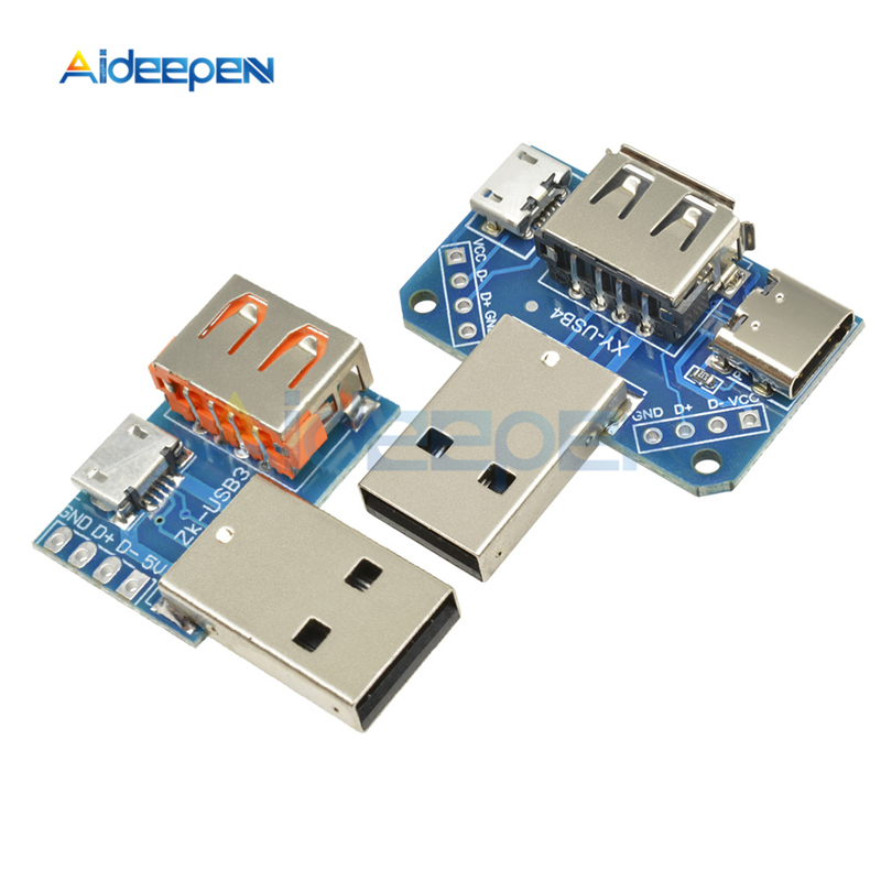 Micro USB To USB Type-C A Male To USB Type A Female To 2.54mm 4P 4 Pin Header Terminal Interface Converter Module Breakout Board