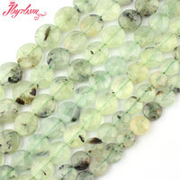 Free Shipping 10 16mm Natural Faceted Coin Green Prehnite Gem Stone For DIY Necklace Bracelet Jewelry