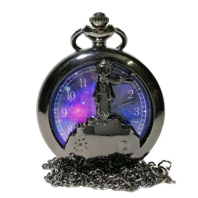 New Fashion Black The little Prince Hollow Color Dial Quartz Pocket Watch Analog