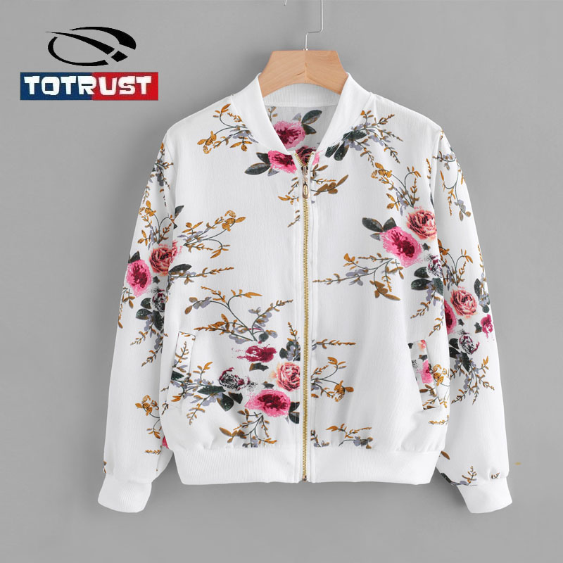 TOTRUST Ladies Floral   Jackets   Coat Spring 2019 Thin Vintage Bomber   Jacket   Women Floral Cardigan Homme Outwear   Basic     Jackets