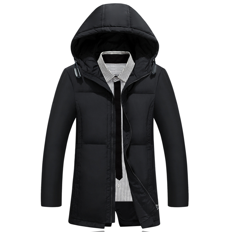 ФОТО 2017 Winter Keep Warm Coat Casual Men's warm Jacket Male White Duck warm Long section Jacket Coat Men Thick Hooded Jacket