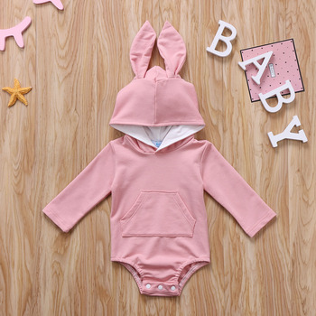 Infant Toddler Baby Girl Boys Hooded Sweatshirts Rabbit Ear Romper Cotton Bodysuit Hoodies 1
