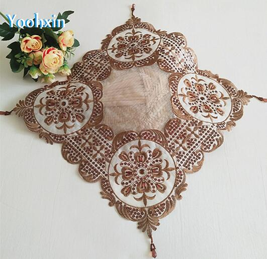 38cm 2019Hot Beads Embroidery table placemat pad Cloth lace fabric placemat cup mug holder Christmas coaster glass doily kitchen