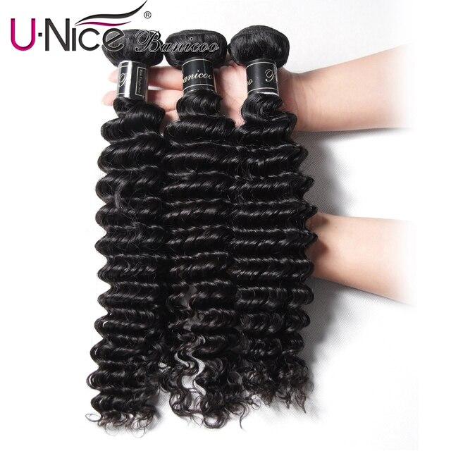 "UNice Hair  Banicoo Series 10A Deep Wave Brazilian Hair Weaves 12-26"" Raw Virgin Hair Bundles Natural Color Human Hair 1/3/4 PCS"