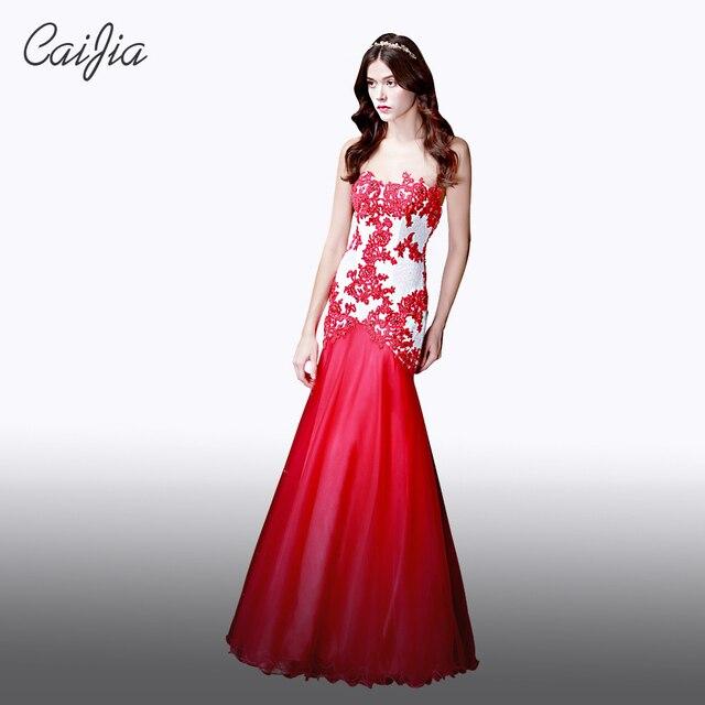 5dcdcbf455ce Caijia 2017 Classico Bianco E Rosso Senza Bretelle In Rilievo Vestito Da  Sera Sexy di Applique