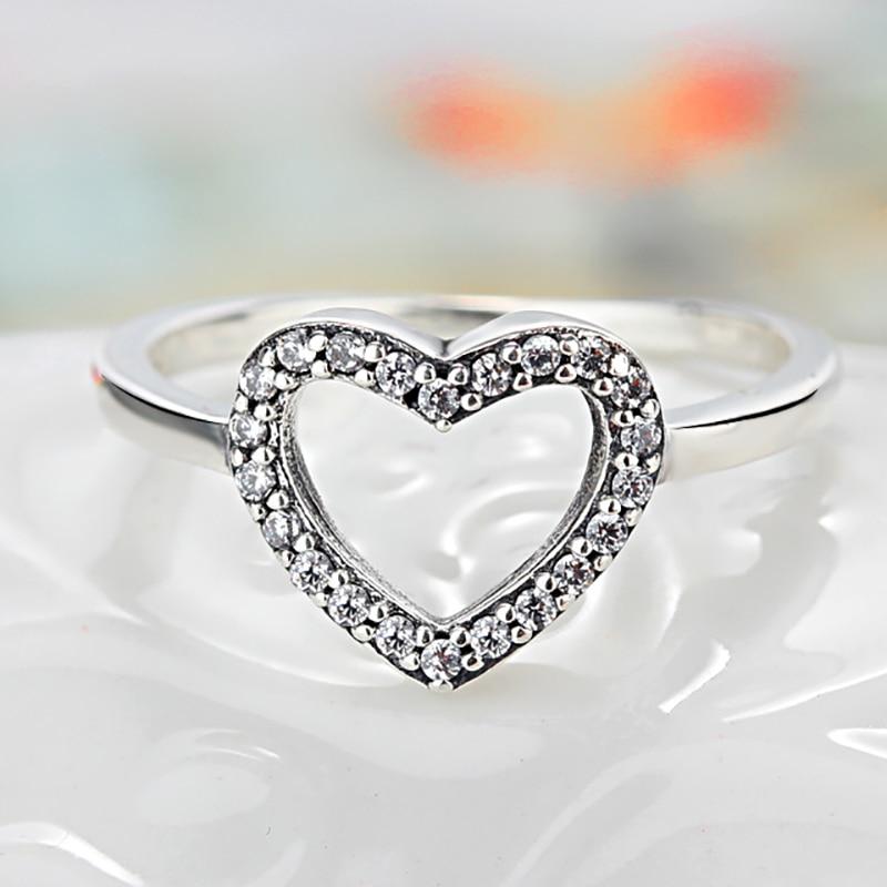 Homod 2018 New Silver Color Heart Shape My Valentine Pandora Ring