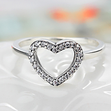 HOMOD 2019 New Silver Color Heart Shape My Valentine Brand Ring with Clear CZ Original Women Jewelry Gift Dropshipping