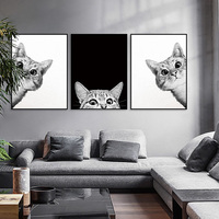 Nordic Style Poster Minimalist Art Canvas Painting Cat Black And White Prints Wall Art Decoration Painting For Living Room