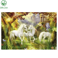 2017 New 5D Diamond Painting Rhinestones Embroidery Resin Crystal Craft White Horse In Wonderland Household Decoration