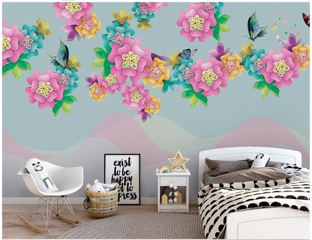 Us 15 95 48 Off Custom Photo 3d Wallpaper Simple Hand Painted Flowers And Butterflies Landscape Painting 3d Wall Murals Wallpaper For Walls 3 D In