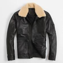 Men's Leather Jacket Flight Suit Fur Collar Jacket Air Force Jacket