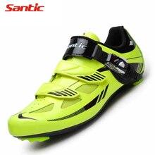 Santic Cycling Shoes PU TPR Breathable Mountain Bike Shoes MTB Road Bike Hook & Loop Men Bicycle Shoes Cycling