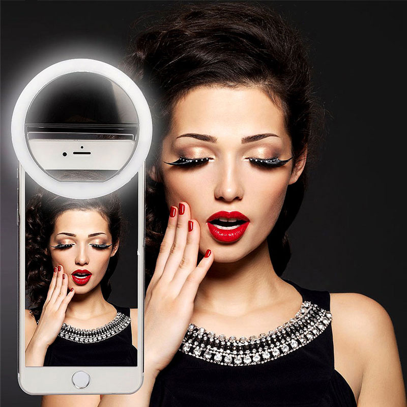 ALLOYSEED Phone Camera Lens Clip Selfie Flash Natural Fill Light Self-timer Ring Lamp Enhancing For iPhone X 8 Samsung S8 Xiaomi