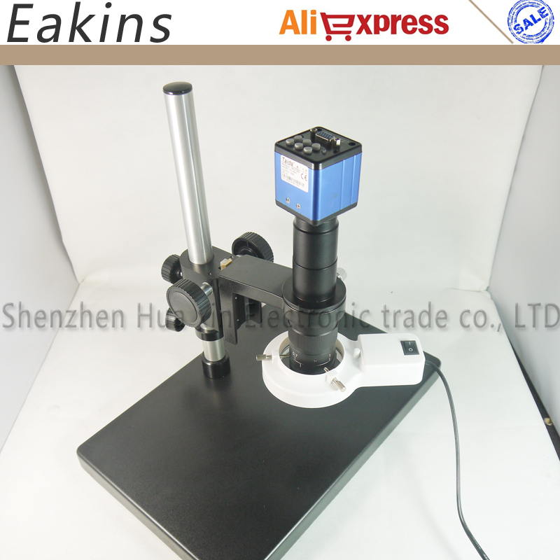 все цены на 2.0MP VGA video industrial microscopes camera+Big Stereo Table Stand+180X C-MOUNT Lens+56 LED Ring Light for Industry Lab онлайн