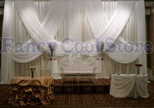 white Luxury Wedding Backdrop stage drapes with swags background Decor