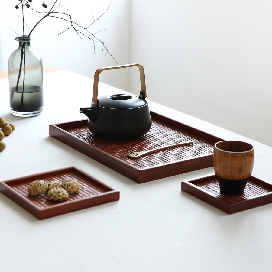Bandeja de té japonesa de ratán, bandeja de madera sólida exterior, bandeja de fruta de madera, plato hecho a mano, toalla, cubiertos|Bandejas de té| |  -