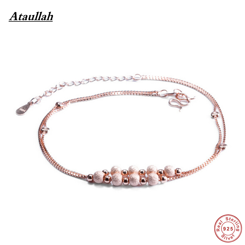 Ataullah Women 925 Sterling Silver Anklets Foot Jewelry Barefoot Sandals Anklets Pulseras Tobilleras Mujer 925 Silver AWS107