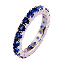 JROSE Popluar Round Cut Sapphire 925 Silver Ring Size 6 7 8 9 10 11 12 13  For Women Men Cocktail Party Jewelry Free Shipping