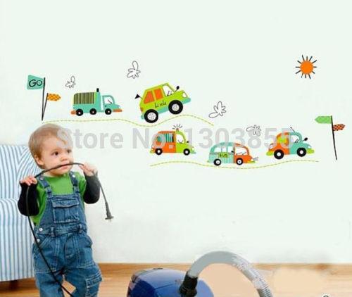 Creative traffic racing cars wall stickers decals baby boy - Wandaufkleber baby ...
