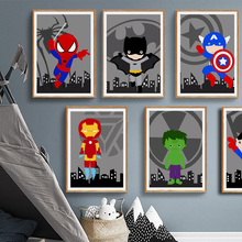 Cartoon Bathroom Superman Batman Wall Art Canvas Painting WC Washroom Nordic Poster Pictures For Living Room Unframed