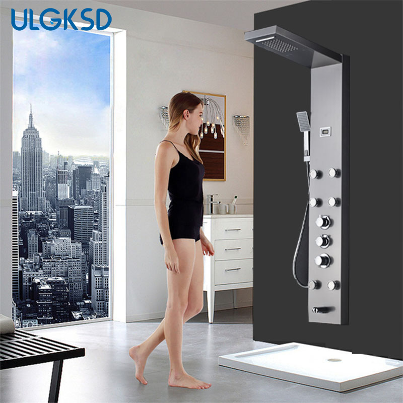 ULGKSD bathroom shower faucet thermostatic shower panel wall mount stainless steel shower column shower head mixer tap